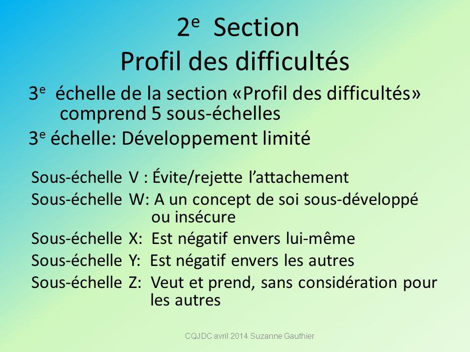 2e Section Profil des difficultés