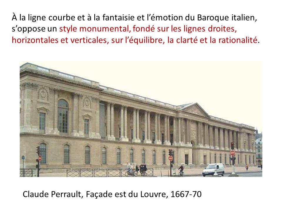 À la ligne courbe et à la fantaisie et l'émotion du Baroque italien, s'oppose un style monumental, fondé sur les lignes droites, horizontales et verticales, sur l'équilibre, la clarté et la rationalité.