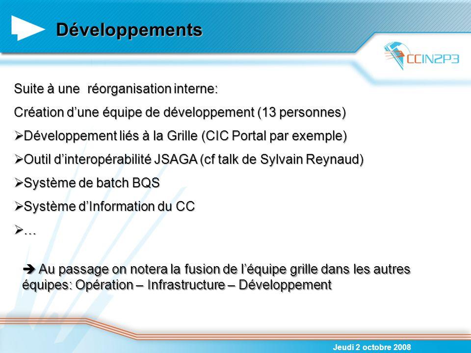 Développements Suite à une réorganisation interne: