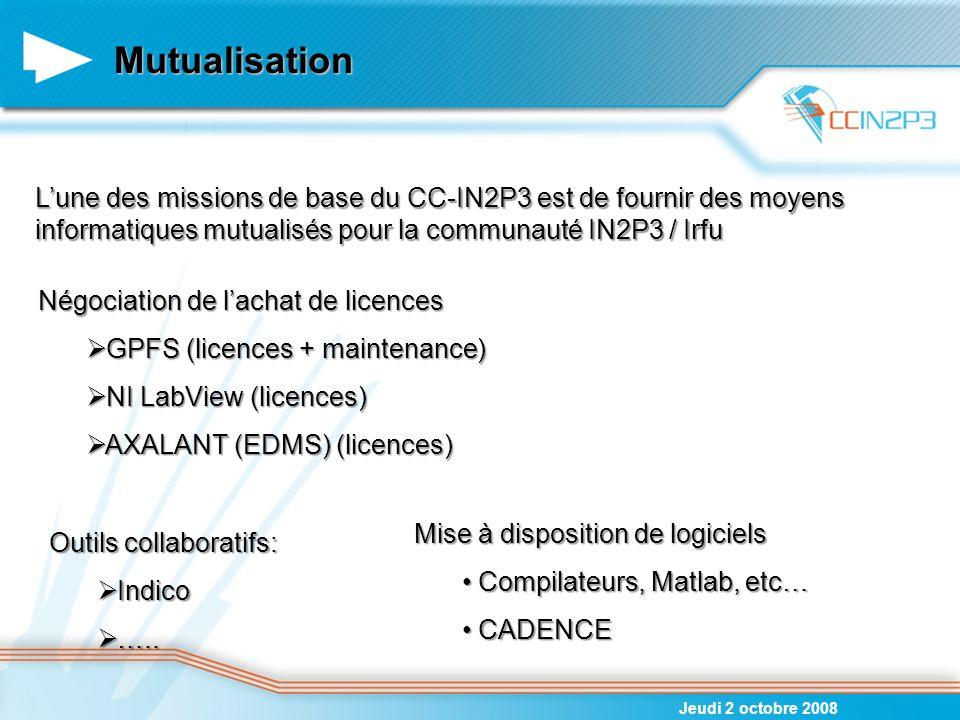 06/04/2017 Mutualisation. L'une des missions de base du CC-IN2P3 est de fournir des moyens informatiques mutualisés pour la communauté IN2P3 / Irfu.