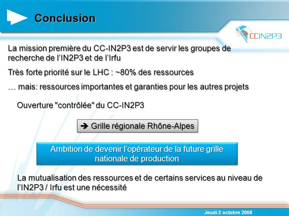 06/04/2017 Conclusion. La mission première du CC-IN2P3 est de servir les groupes de recherche de l'IN2P3 et de l'Irfu.