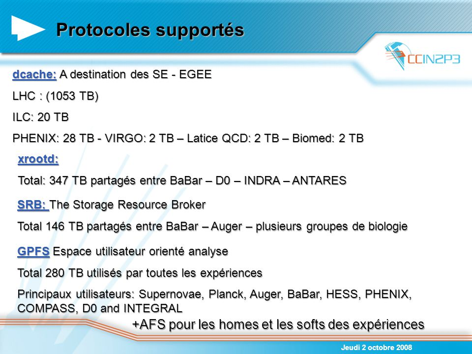 Protocoles supportés +AFS pour les homes et les softs des expériences