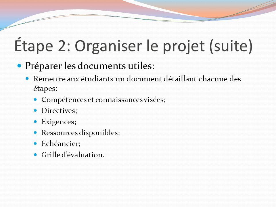 Étape 2: Organiser le projet (suite)