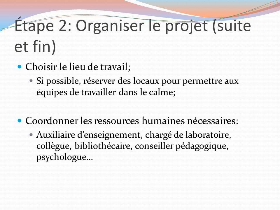 Étape 2: Organiser le projet (suite et fin)