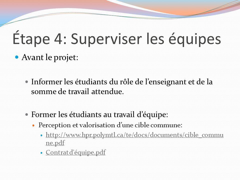 Étape 4: Superviser les équipes