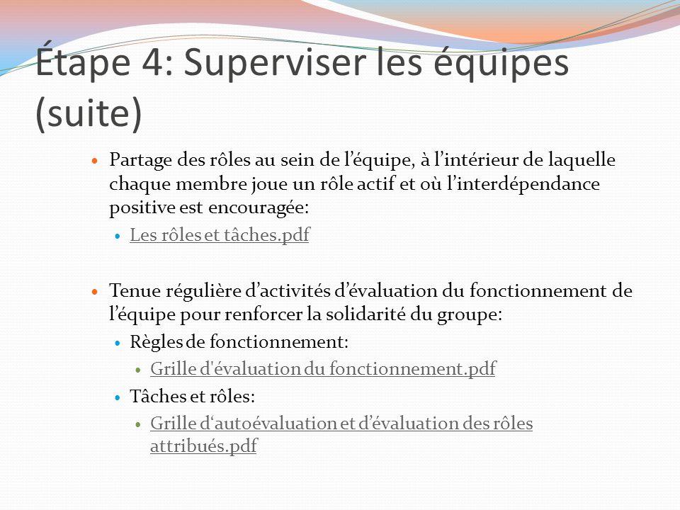 Étape 4: Superviser les équipes (suite)