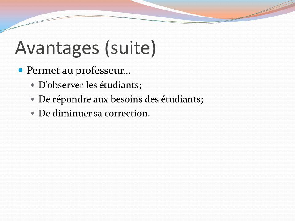Avantages (suite) Permet au professeur… D'observer les étudiants;