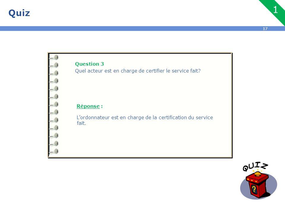 Quiz 1. Question 3. Quel acteur est en charge de certifier le service fait Réponse :