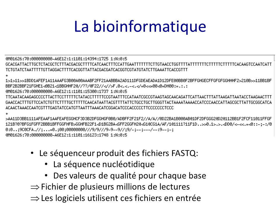 La bioinformatique Le séquenceur produit des fichiers FASTQ:
