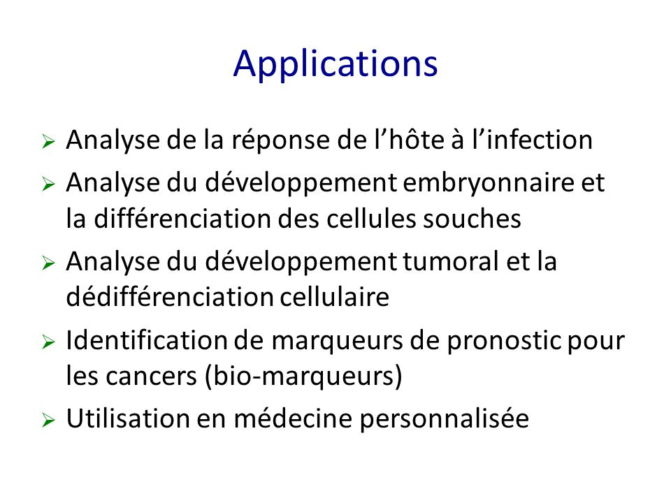 Applications Analyse de la réponse de l'hôte à l'infection