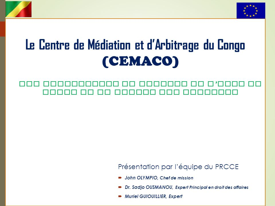 Le Centre de Médiation et d'Arbitrage du Congo (CEMACO)