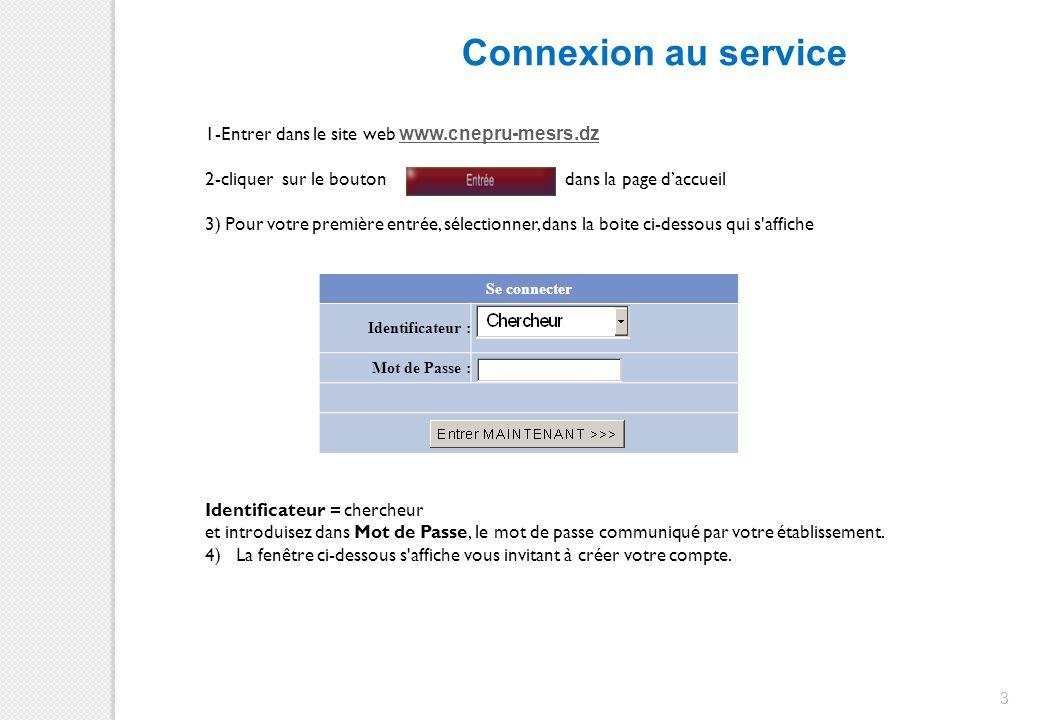 Connexion au service 1-Entrer dans le site web www.cnepru-mesrs.dz.