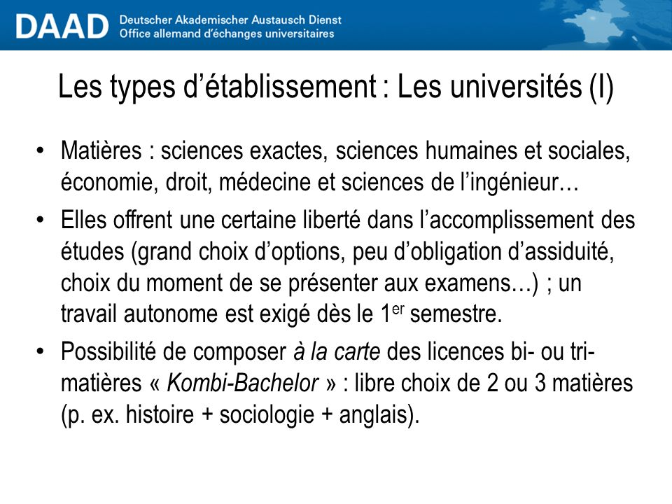 Les types d'établissement : Les universités (I)