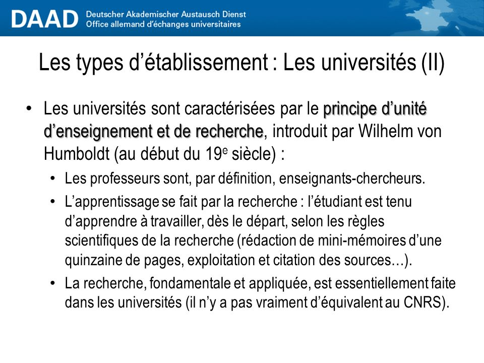 Les types d'établissement : Les universités (II)