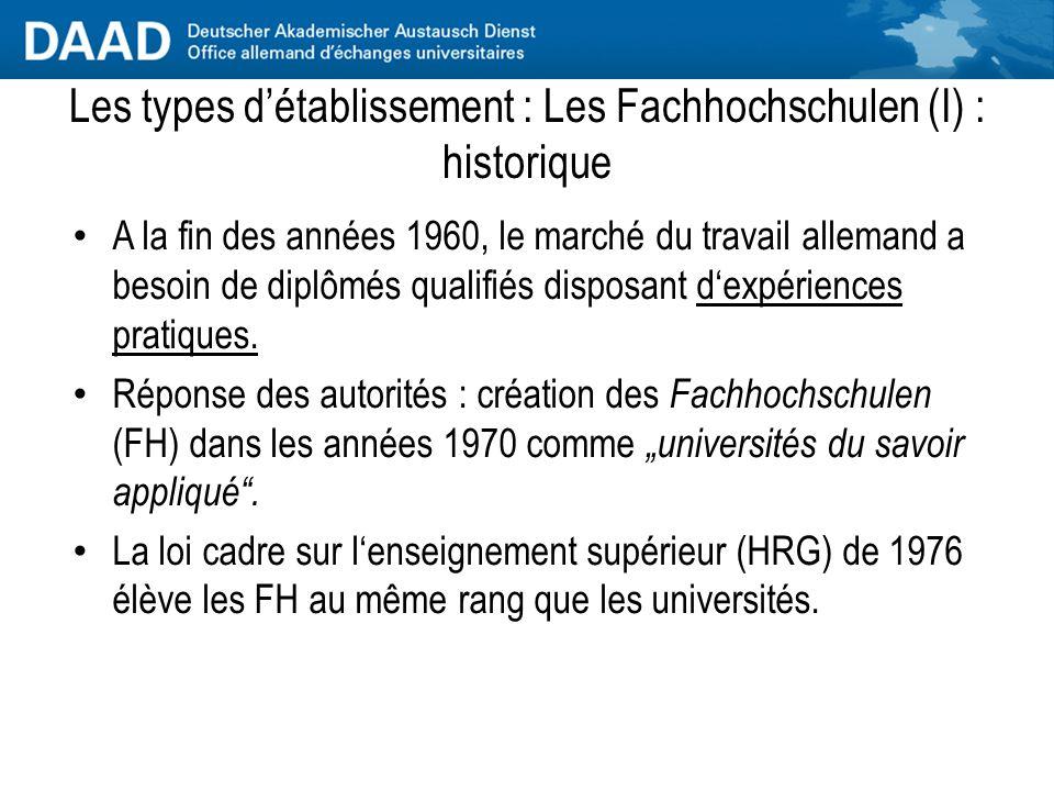 Les types d'établissement : Les Fachhochschulen (I) : historique