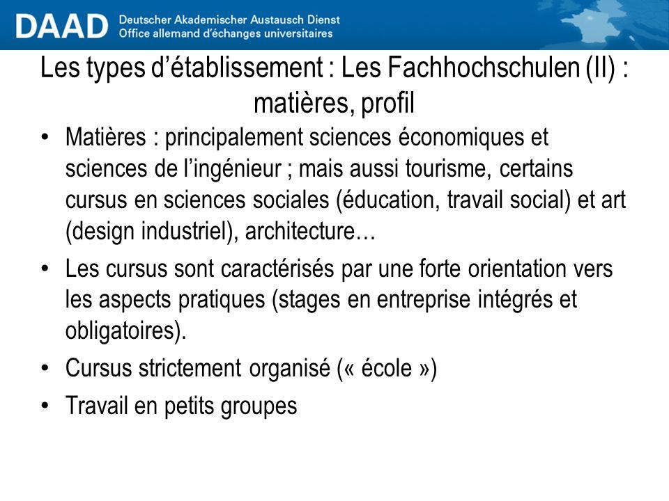 Les types d'établissement : Les Fachhochschulen (II) : matières, profil
