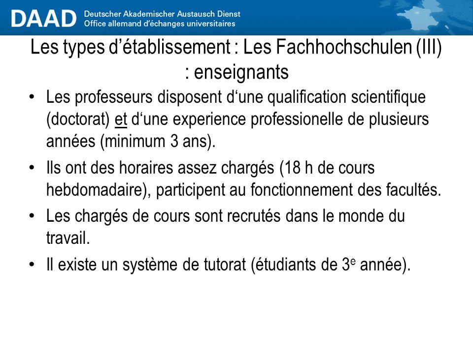 Les types d'établissement : Les Fachhochschulen (III) : enseignants