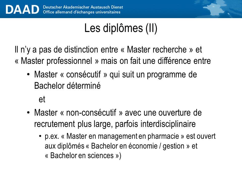 Les diplômes (II) Il n'y a pas de distinction entre « Master recherche » et « Master professionnel » mais on fait une différence entre.