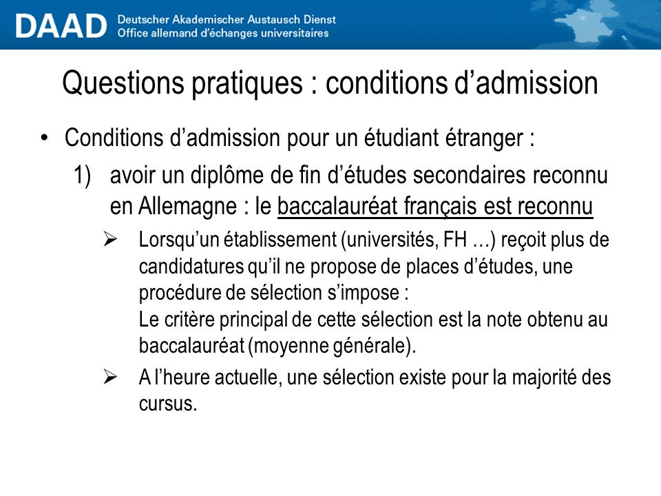 Questions pratiques : conditions d'admission