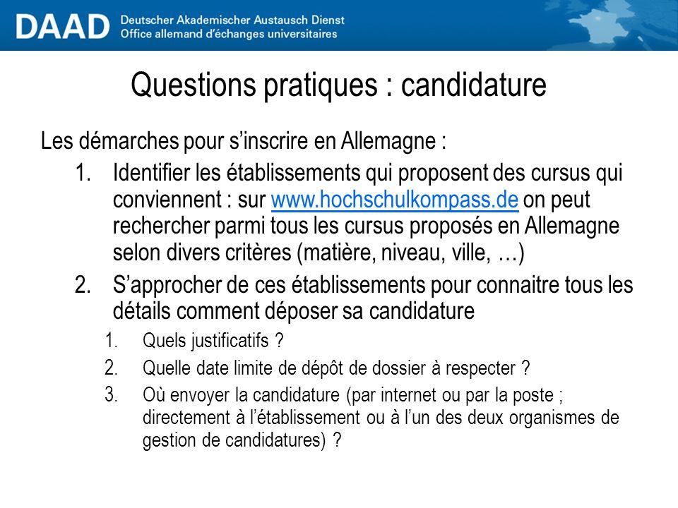 Questions pratiques : candidature