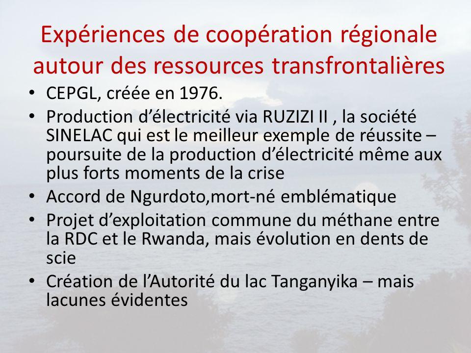 Expériences de coopération régionale autour des ressources transfrontalières