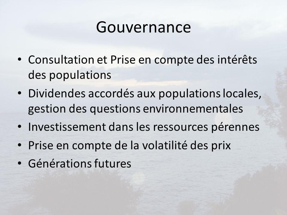 Gouvernance Consultation et Prise en compte des intérêts des populations.