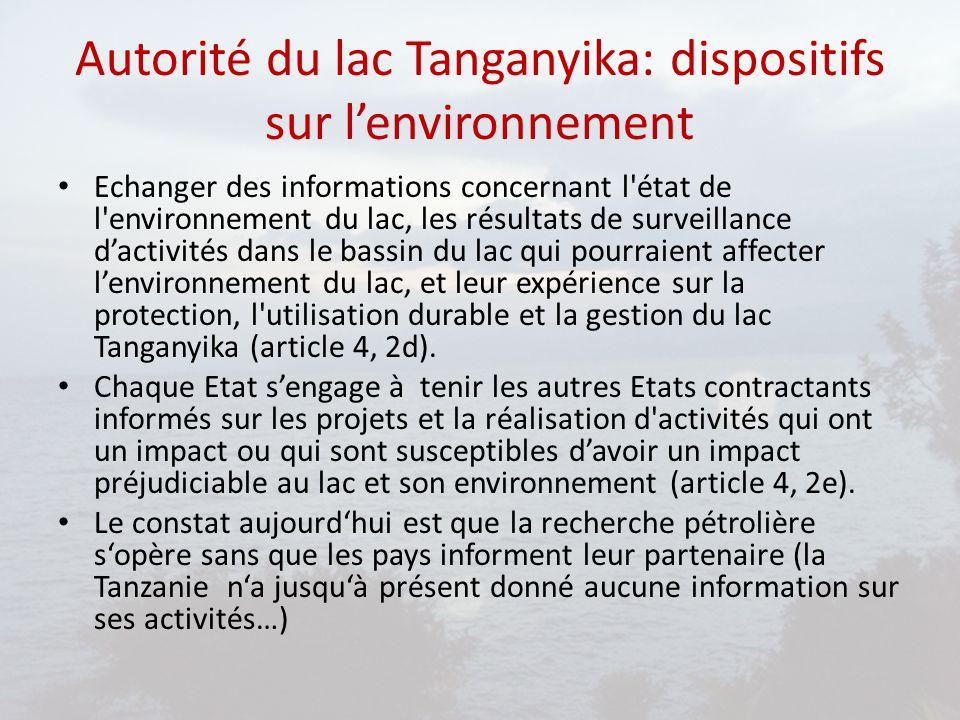 Autorité du lac Tanganyika: dispositifs sur l'environnement