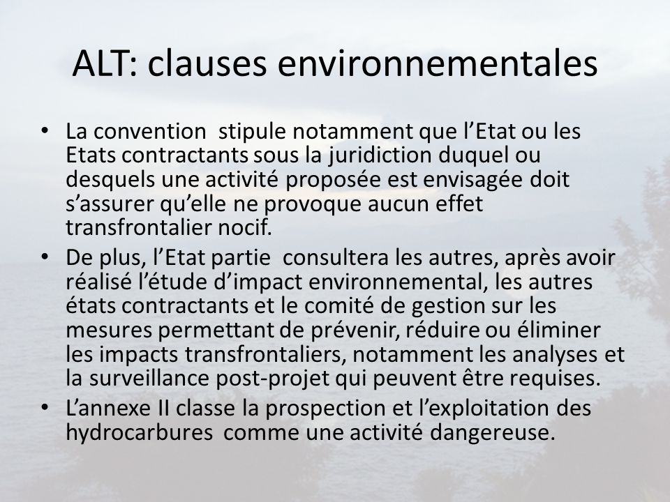 ALT: clauses environnementales
