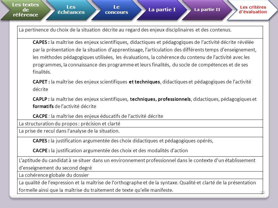 Les textes de référence Les critères d'évaluation