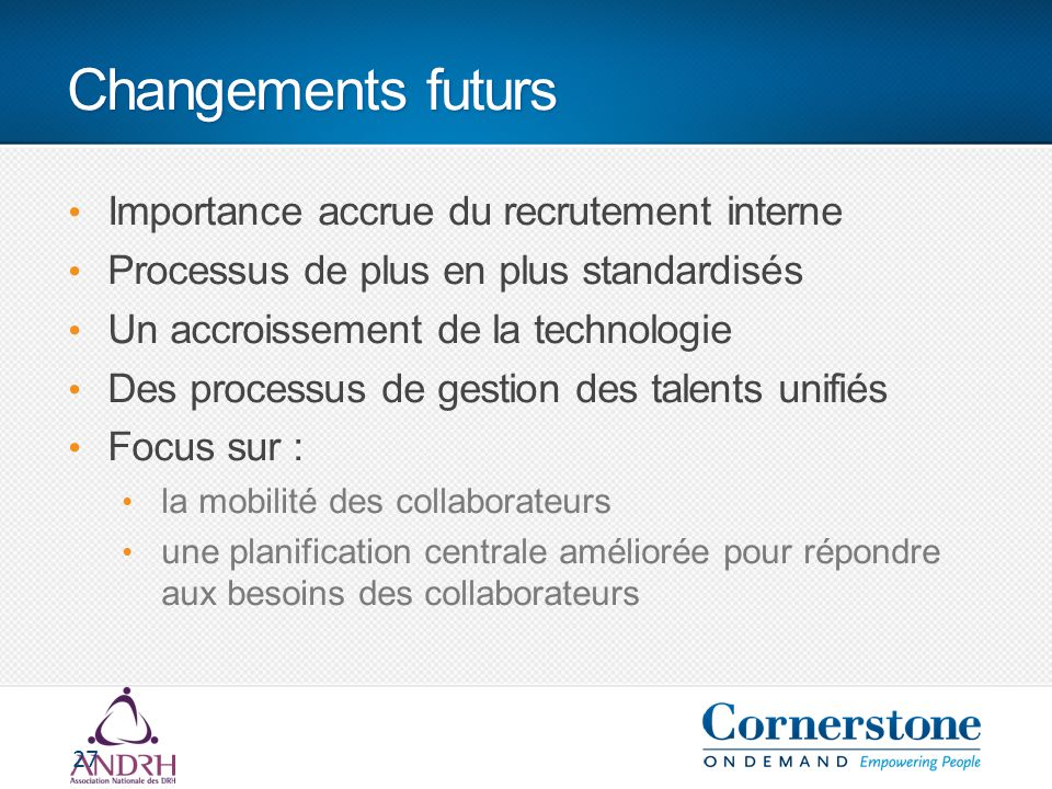 Changements futurs Importance accrue du recrutement interne