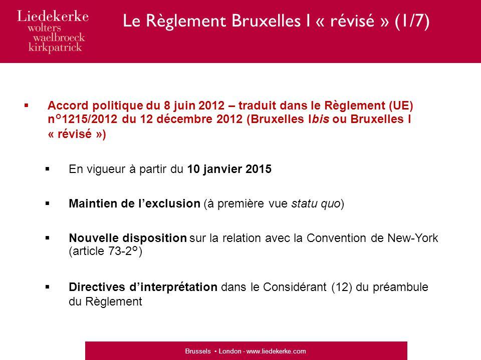 Le Règlement Bruxelles I « révisé » (1/7)
