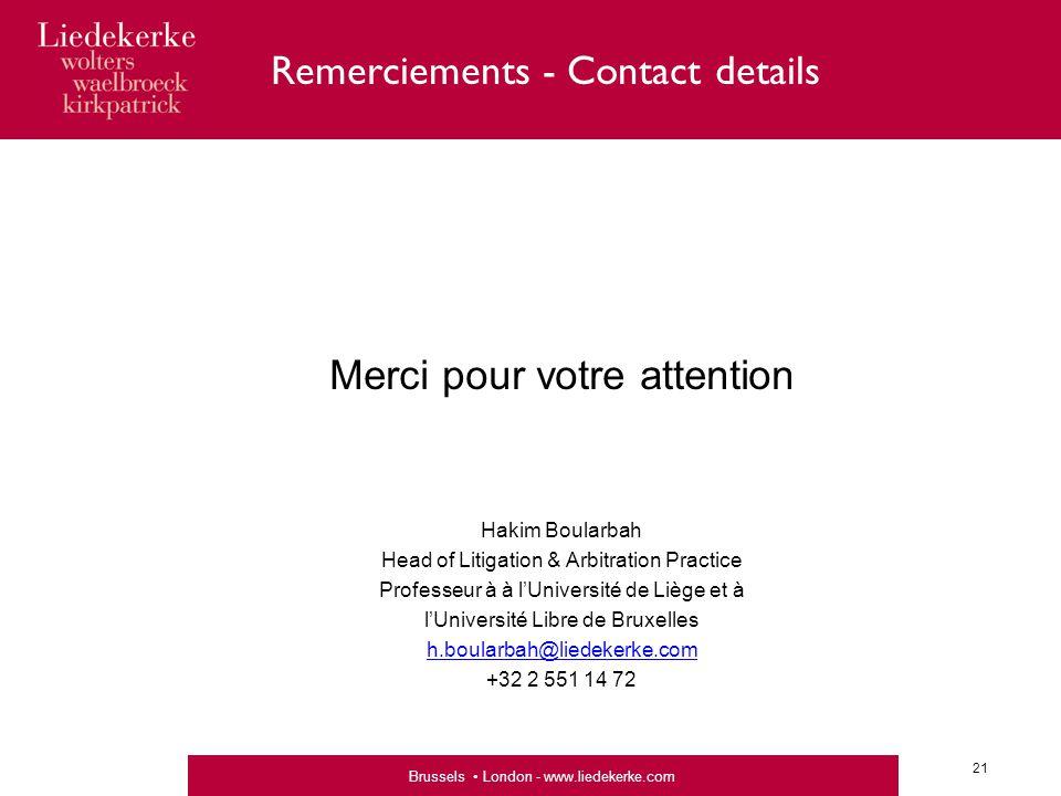 Remerciements - Contact details