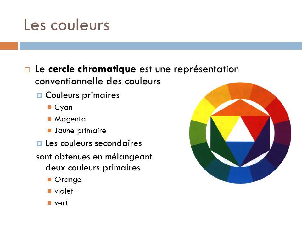 Les couleurs Le cercle chromatique est une représentation conventionnelle des couleurs. Couleurs primaires.