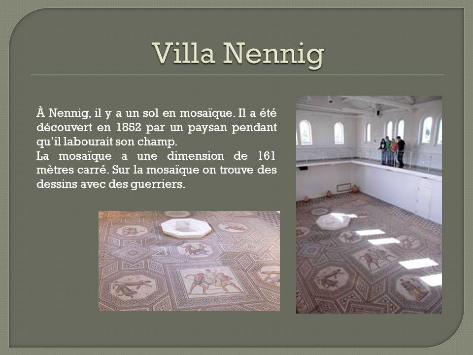 Villa Nennig À Nennig, il y a un sol en mosaïque. Il a été découvert en 1852 par un paysan pendant qu'il labourait son champ.