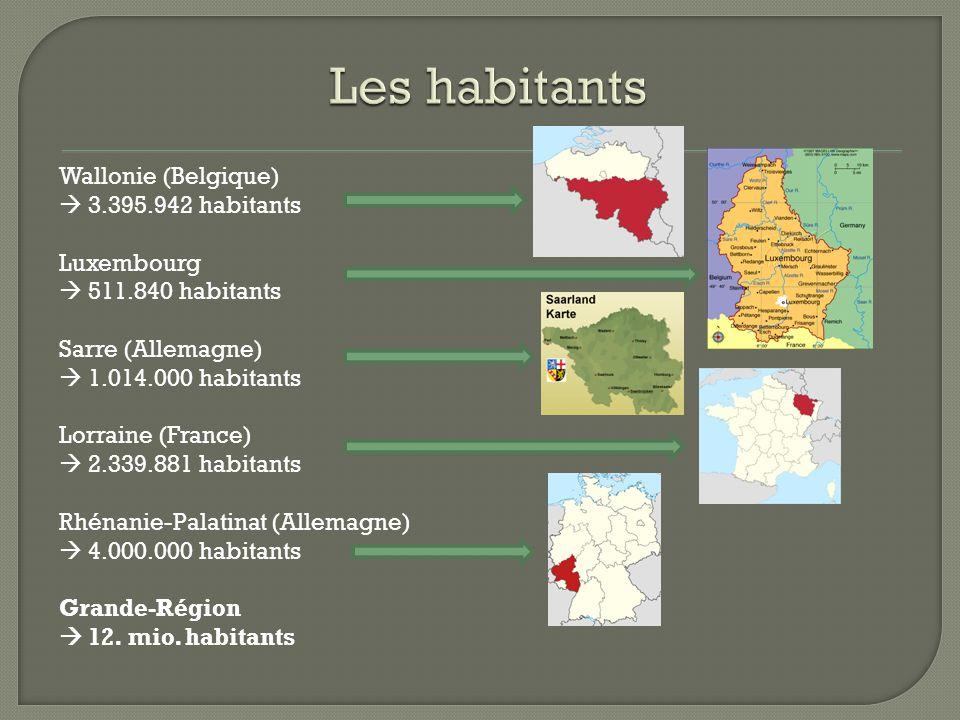 Les habitants Wallonie (Belgique)  3.395.942 habitants Luxembourg