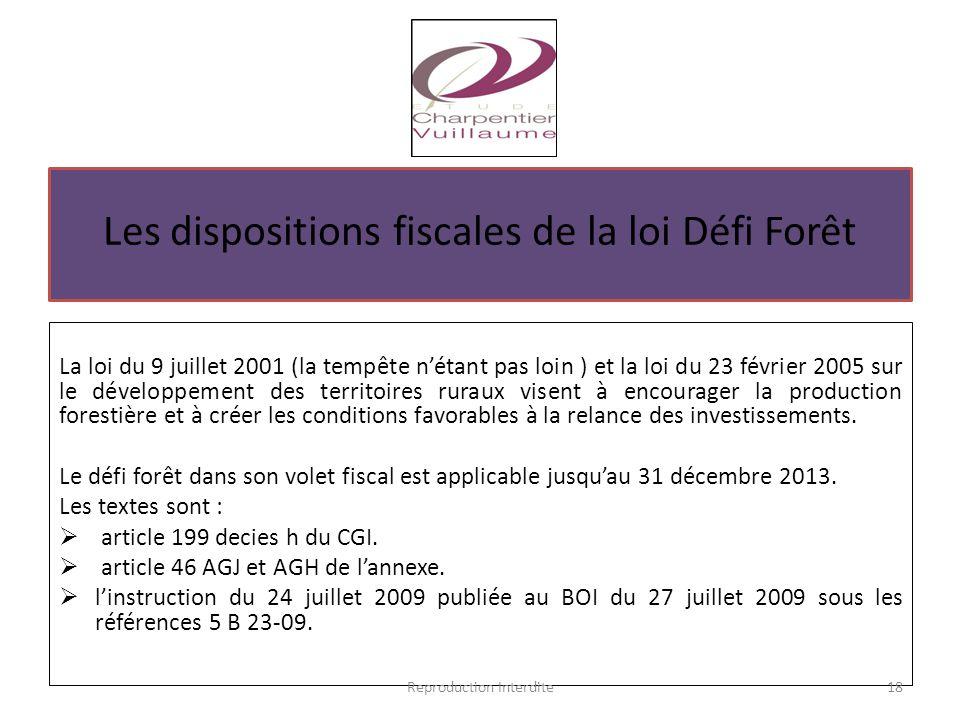 Les dispositions fiscales de la loi Défi Forêt