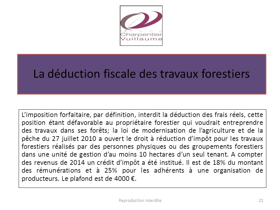 La déduction fiscale des travaux forestiers