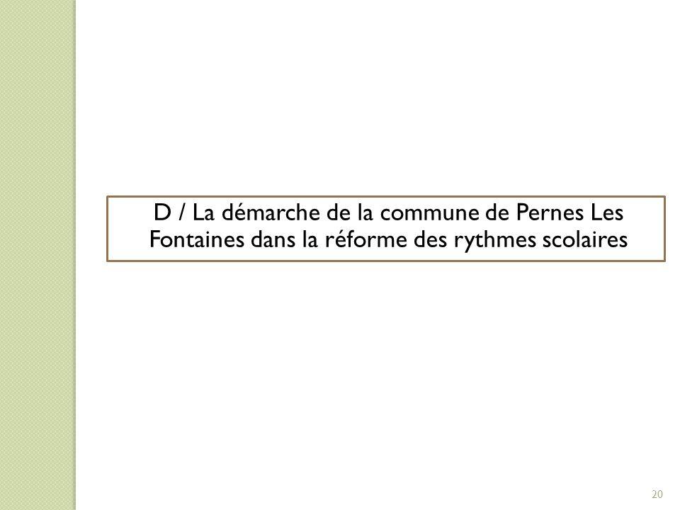 D/ LA DEMARCHE DE LA COLLECTIVITE. DANS LA REFORME DES RYTHMES SCOLAIRES.