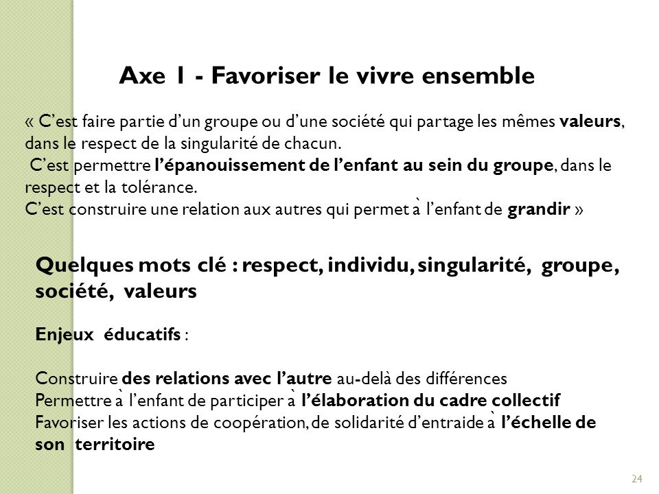 Axe 1 - Favoriser le vivre ensemble