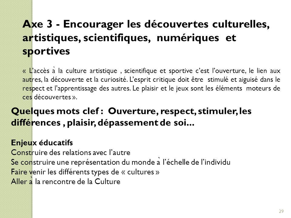 Axe 3 - Encourager les découvertes culturelles, artistiques, scientifiques, numériques et sportives
