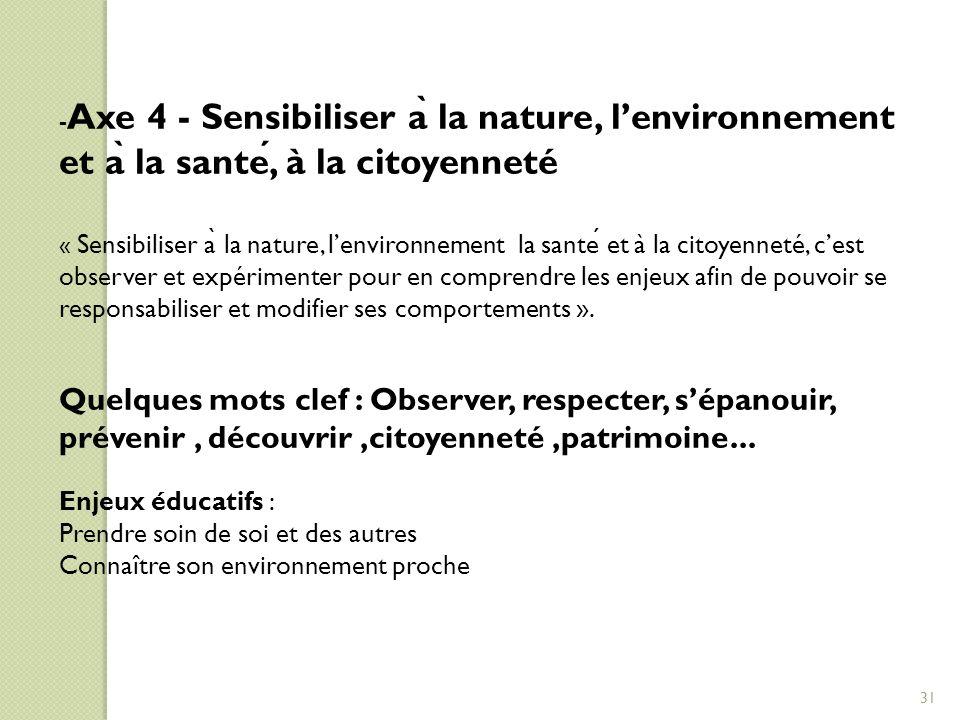 -Axe 4 - Sensibiliser à la nature, l'environnement et à la santé, à la citoyenneté