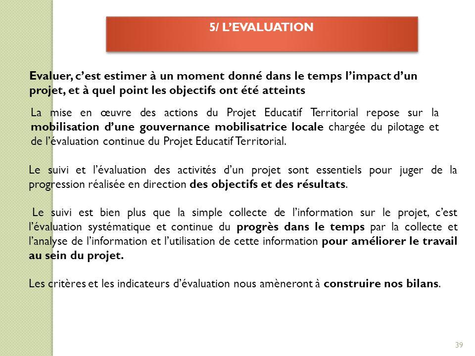 5/ L'EVALUATION Evaluer, c'est estimer à un moment donné dans le temps l'impact d'un projet, et à quel point les objectifs ont été atteints.