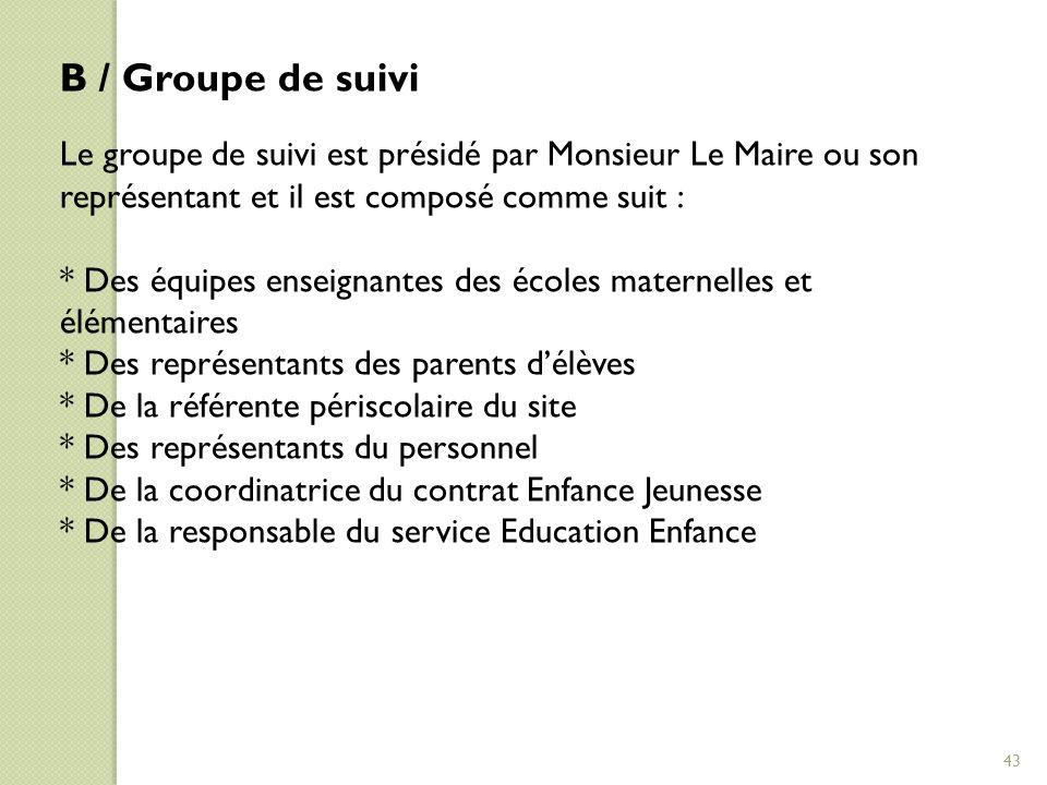 B / Groupe de suivi Le groupe de suivi est présidé par Monsieur Le Maire ou son représentant et il est composé comme suit :