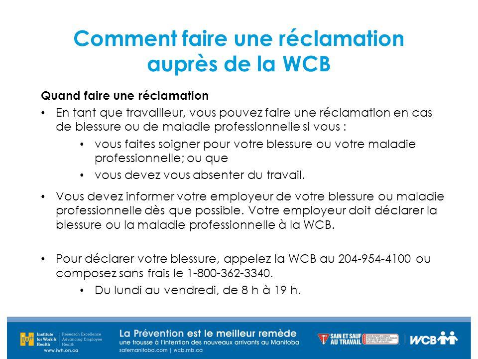 Comment faire une réclamation auprès de la WCB
