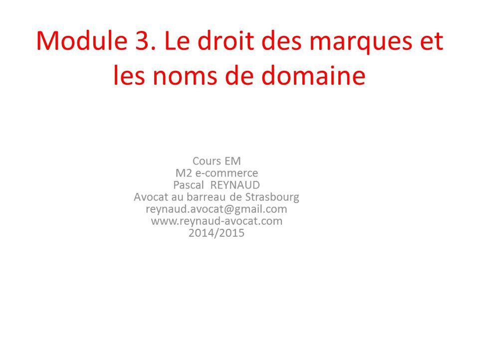 Module 3. Le droit des marques et les noms de domaine