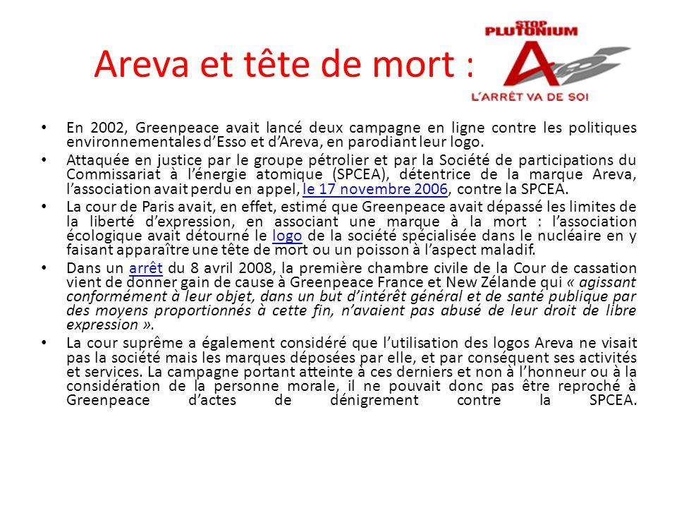 Areva et tête de mort :