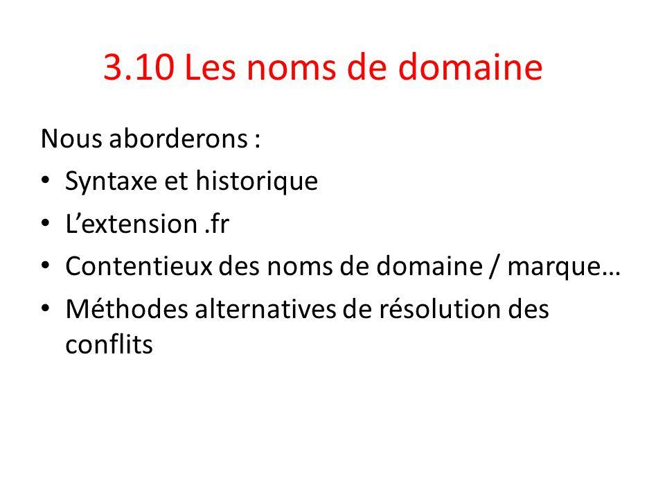 3.10 Les noms de domaine Nous aborderons : Syntaxe et historique