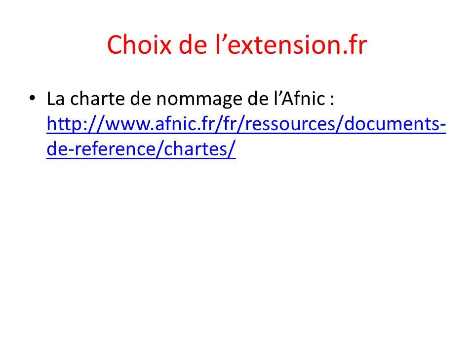 Choix de l'extension.fr