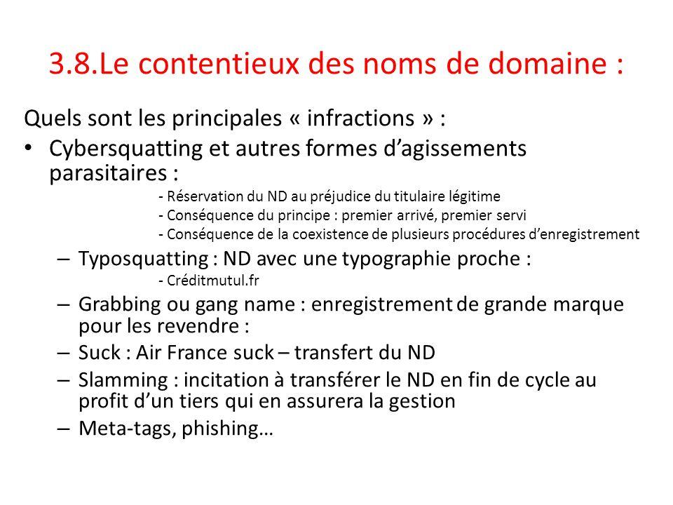 3.8.Le contentieux des noms de domaine :