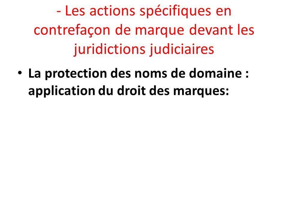 - Les actions spécifiques en contrefaçon de marque devant les juridictions judiciaires